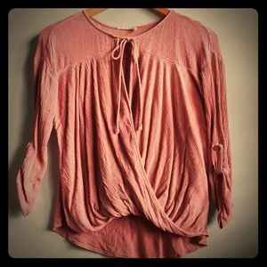 Rustic pink tie-up blouse